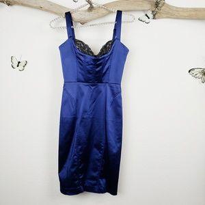 Bebe Tawny cocktail dress blue lingerie style